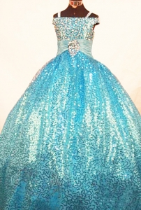Paillette Straps Teal Little Girl Pageant Dresses