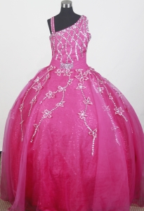 Colorful Beading and Embroidery Little Girl Pageant Dress