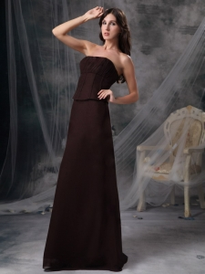 Brown Strapless Floor-length Satin Bridesmaid dresses