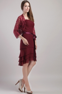 Burgundy Sash Mother of the Bride Dress Jacket Ruffles