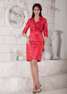 Coral Red Knee-length Ruch Dress for Mother of the Bride