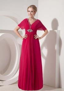 Coral Red V-neck Cap Sleeves Chiffon Beading Mothers Dresses