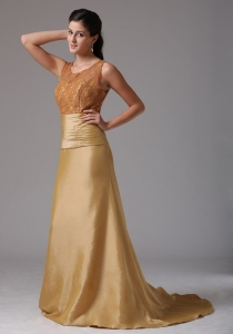 Gold Ruch and Lace Satin Mother of the Bride Dress