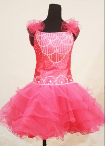 Hot Pink Mini-length Organza Little Girl Pageant Dresses