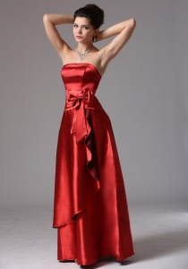 Wine Red Empire Bridesmaid dresses With Bows
