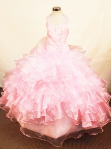 Organza Halter Baby Pink Beaded Little Girl Pageant Dress