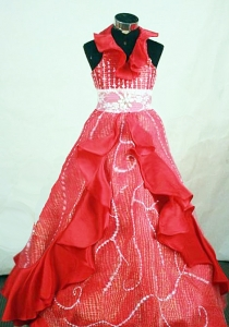 Halter Top Red Beaded Little Girl Pageant Dresses