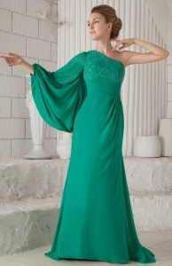 Mother of the Bride Dress Dark Green One Shoulder Sleeves