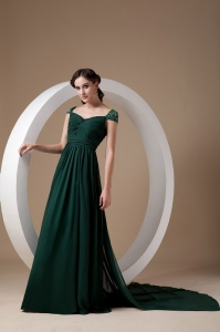 Square Watteau Train Chiffon Beading Mother of the Groom Dress