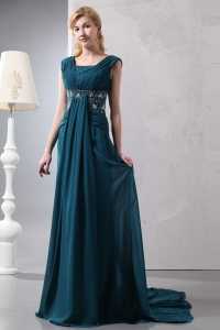 Beading Dark Green Mother of Bride Dress Court Train