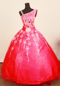 Asymmetrical Little Girl Pageant Dresses Coral Red