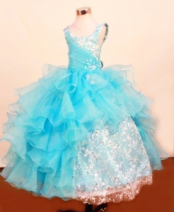 Baby Blue Ruffled Layered Lace Little Girl Pageant Dresses