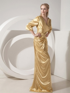 Newest Gold V-neck Brush Train Mothers Dress 2013
