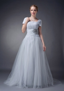 Gray A-line Square Brush Train Mother of the Bride Dress