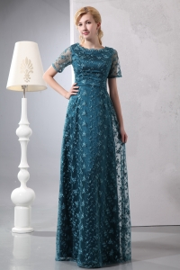 Dark Green Lace Mother of the Bride Dress Sleeves Scoop