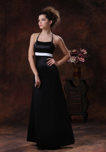 Black Bridesmaid dresses with Halter Column Floor-length