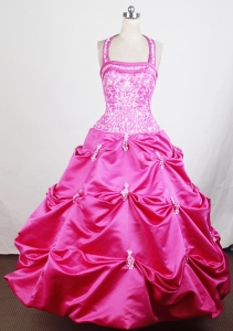 Haltered Embroidery Girl Pageant Dress Hot Pink Appliques