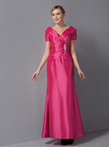 Hot Pink V-neck Column Ruch Dress for Mother Of The Bride