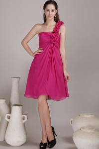 Hot Pink One Shoulder Chiffon Flowers for Bridesmaids