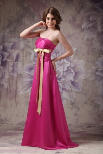 Hot Pink Strapless Bridesmaid dresses with Ruch and Bows