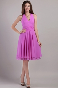 Halter Top Lavender Bridesmaid Dresses Chiffon Ruch