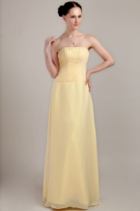 Light Yellow Bridesmaid Dresses Strapless Chiffon Ruch