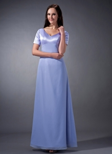 Sleeves V-neck Ruch Lilac Mother Dresses for Weddings