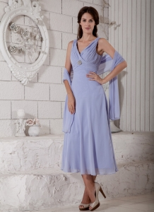V-neck Lilac Ruch Mother of Bride Dress Chiffon Beaded