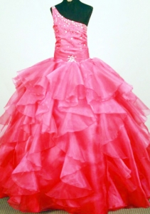 Lovely Tiered Beaded One Shoulder Little Girl Pageant Dresses