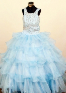Ruffled Layeres Pageant Dresses for Teens Square Neck