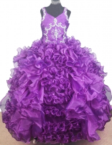 Beading Ruffles V-neck Little Girl Pageant Ball Gown