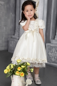 Off White Cap Sleeves Scoop Tea-length Beading Flower Girl Dress
