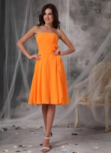Orange Empire Strapless Knee-length Bridesmaid dresses