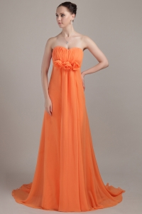 Orange Sweetheart Flowers Bridesmaid Dresses Brush Train