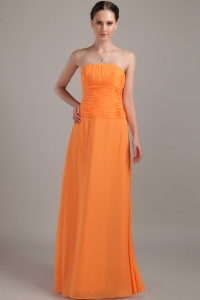 Chiffon Strapless Orange Beading Bridesmaid Dresses