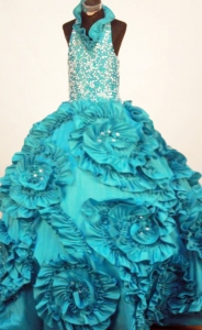Little Girl Pageant Dresses with Halter Top Neck and Ruffles