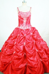 Pick-ups Straps Red Appliques Little Girl Pageant Dress