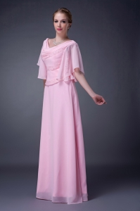 V-neck Floor-length Chiffon Beading Mother of the Bride Dress