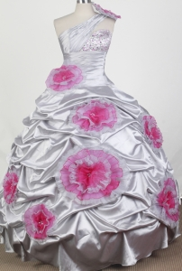 Beading Hand Made Flowers One Shoulder Pageants Dresses