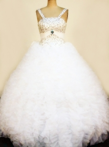 Ruffles Little Girl Pageant Dresses with Glittering Beadings