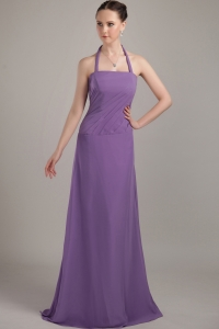Purple Halter Bridesmaid Dresses Ruch Brush Train