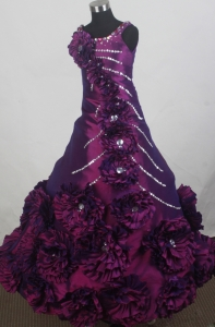 Purple Hand Made Flowers Little Girl Pageant Dress Beaded