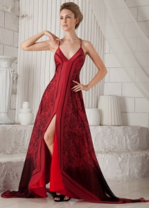 Printing Wine Red Spaghetti Straps Mother Bride Dress