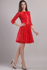 Bateau Lace Embroidery Red Mother Of The Bride Dresses