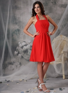 Red Halter Knee-length Chiffon Ruched Bridesmaid Dresses