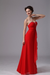 Red Sweetheart Beaded Ruch Chiffon Bridesmaid dresses