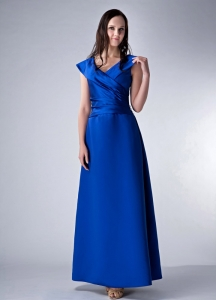 Satin V-neck Ruch Royal Blue Mother of the Bride Dress