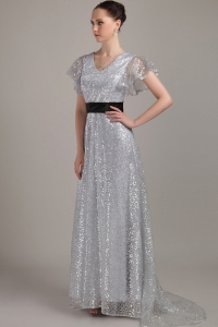 Silver Sequin Mother of Bride Dress V-neck Belt Train