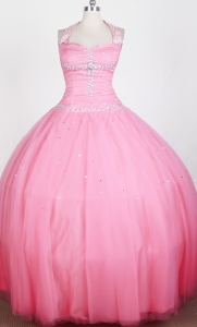 Halter Top Beaded Bodice Little Girl Pageant Dress