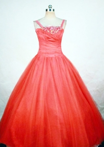 Beaded Ball Gown Orange Red Girl Pageant Dresses